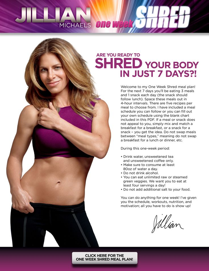 Jillian Michaels' One Week Shred DVD Meal Plan - JillianMichaels.com --------> http://tipsalud.com