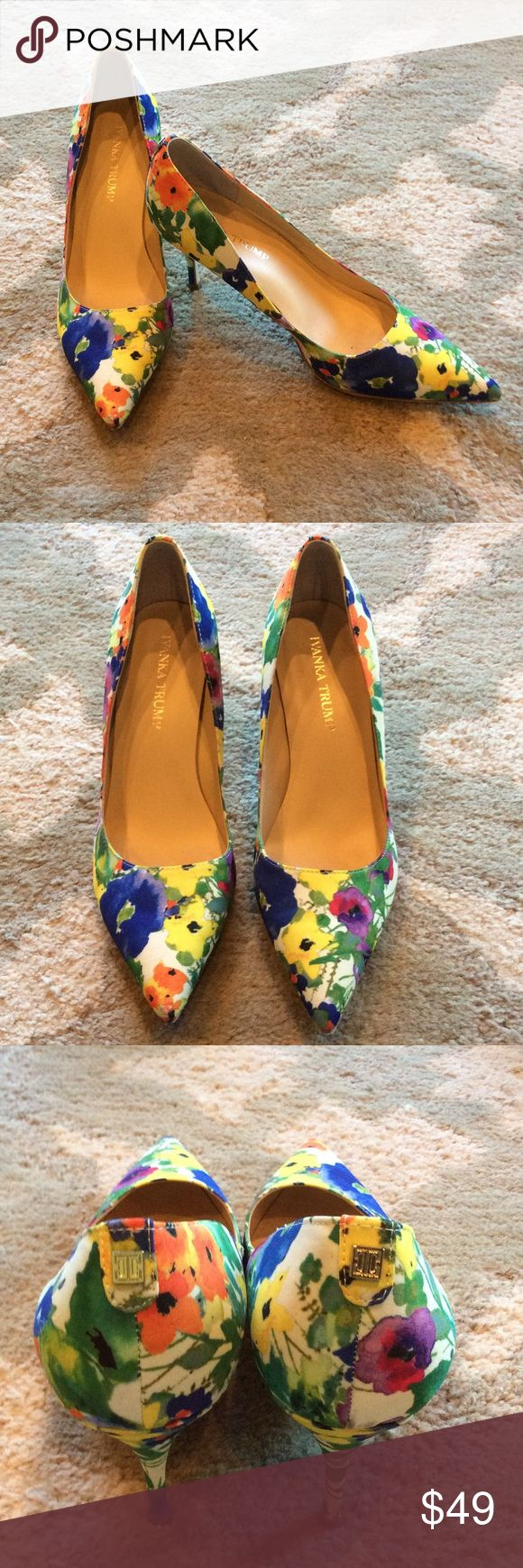 Ivanka Trump Floral Kitten Heels Beautiful bright floral fabric heels from Ivanka Trump. Purchased at Nordstrom. Was between sizes and now are too small. Very wearable heel height. Worn once. Ivanka Trump Shoes Heels