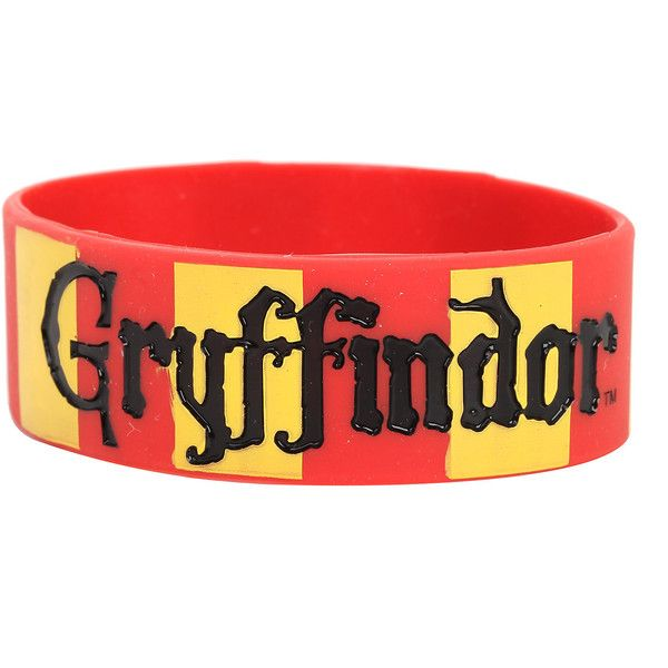 Harry Potter Gryffindor Rubber Bracelet Hot Topic (£4.82) ❤ liked on Polyvore featuring jewelry, bracelets, rubber jewelry and rubber bangles