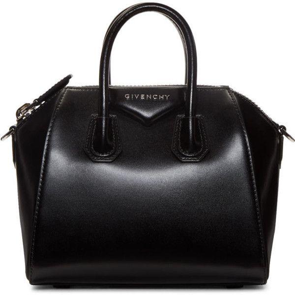 Givenchy Black Mini Antigona Bag (91,170 PHP) ❤ liked on Polyvore featuring bags, handbags, black, genuine leather handbags, mini duffle bag, studded leather handbags, mini purse and leather handbags