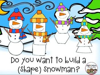 This freebie contains a winter fun math center for your preschool and kindergarten!! Your students will love building shape snowmen! This center has two options:Option 1:  Provide your student with a winter background mat and snowmen shape pieces to explore as you wish.Option 2:  The student will choose one of the shape cards included in the file.