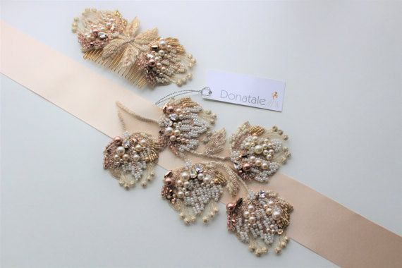 Wedding belt,  Bridal belt,Bridal sash ,Gold Champagne Wedding dress belt , Bridal belts and  sashes, Bridal dress sash,Wedding sash  -FREYA