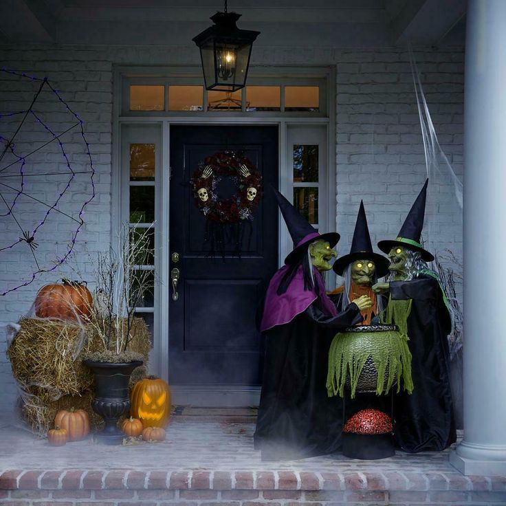 5.5 Ft ANIMATED WITCHES TRIO WITH CAULDRON Halloween