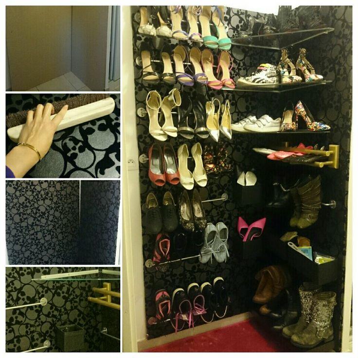 cool rangement pour chaussures ralis avec planches de. Black Bedroom Furniture Sets. Home Design Ideas