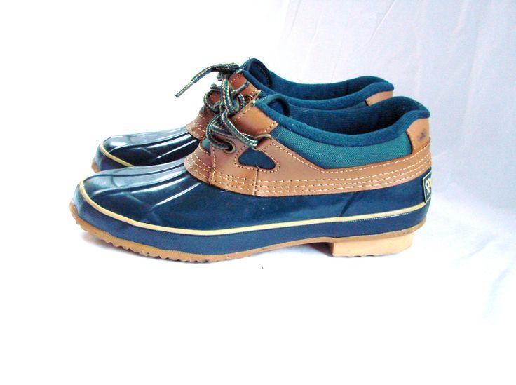 1980s Sporto Green Duck Boots Shoes / vintage 80s Rain Rubber Boots shoes Size 7. $25.00, via Etsy.