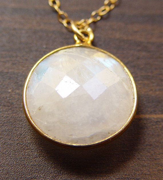 Round Moonstone Gold Necklace  Milky White 14k by friedasophie, $49.00