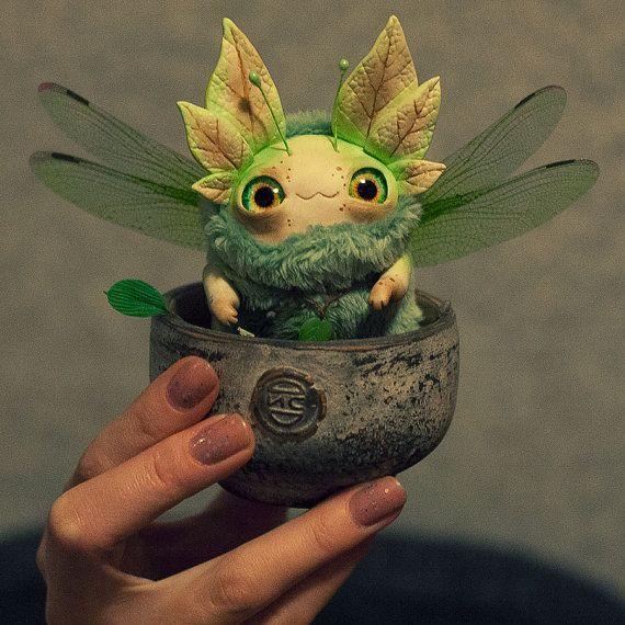 MADE TO ORDER  Spring flying sleepyhead  ooak fantasy by Furrykami