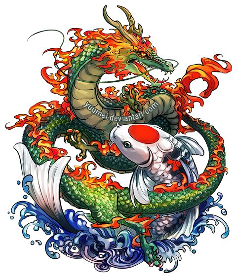 Dragon and Koi Commssion by `yuumei on deviantART