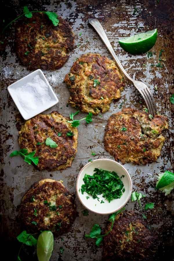 Low-Carb Mexican Cauliflower Patties {vegetarian} | HealthySeasonalRecipes.com by Katie Webster