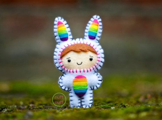 This little rainbow bunny is made with felt, embroidery yarn, 3mm safety eyes, polyfill stuffing, and stuffed with a bit of lavender.