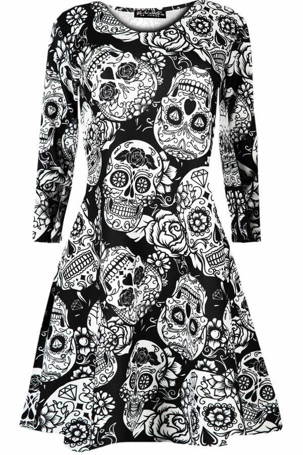 Womens Ladies Halloween Fancy Costume Scary Skull Flared Midi Skater Swing Dress