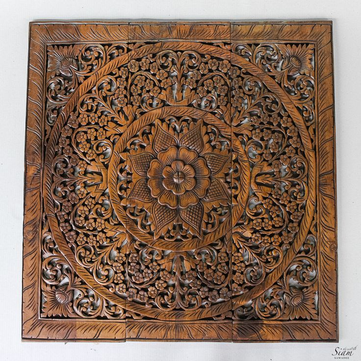 Large wood carved wall art panel oriental floral by