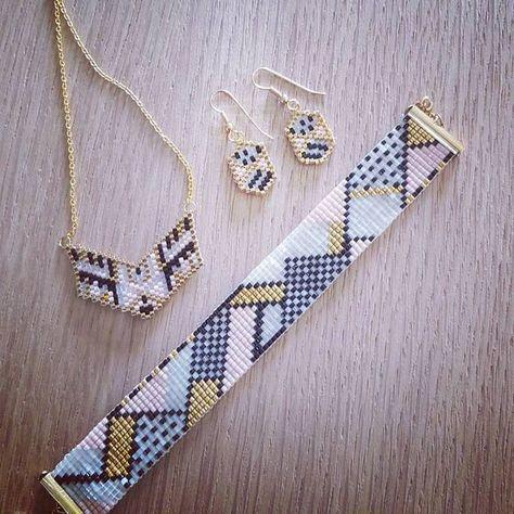 La production de la semaine, le bracelet Menphis de @maellinet et @perlescorner , qui est accompagné de boucles d'oreilles selon le motif de @monpetitbazar et d'un pendentif vu sur pinterest #motifmaellinet #perlescorner #motifmonpetitbazar #jenfiledesperlesetjassume #perlesaddictanonymes #jesuisunesquaw