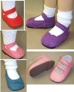 "Pattern 	~ for 18"" dolls such as those offered by American Girl® ~  Felt Shoe Pattern"