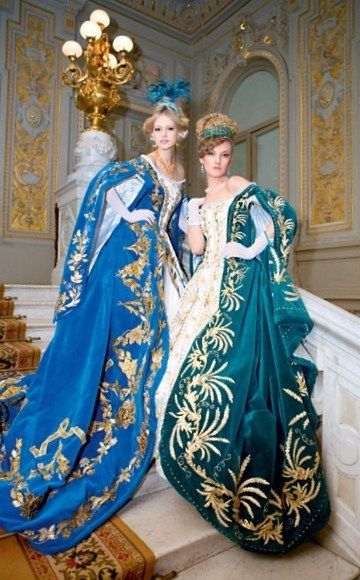 Russian Court dress. Modern work according to the fashion of the 19th century.  I WANT THE BLUE DRESS <3