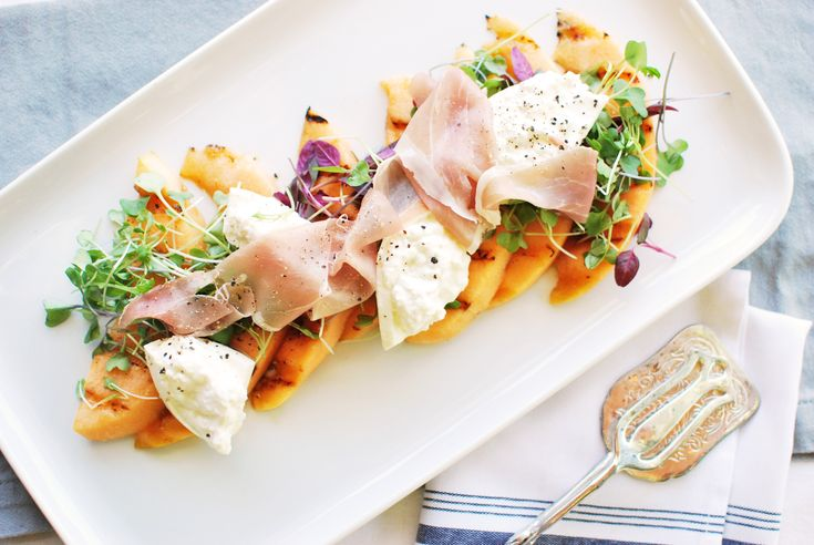 Grilled Cantaloupe and Burrata Salad with Prosciutto: Paired with creamy Burrata cheese and savory prosciutto, it's one of those really simple recipes that tastes incredibly special. It's a great dish for serving on the patio in the middle of summer!