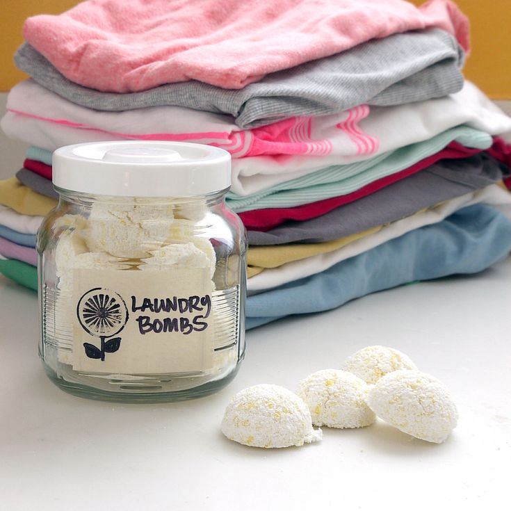 All-in-One Laundry Bombs - this sounds fantastic! It would save us money on detergent, softener, dryer sheets, bleach....And it's husband proof - one for small and two for large!