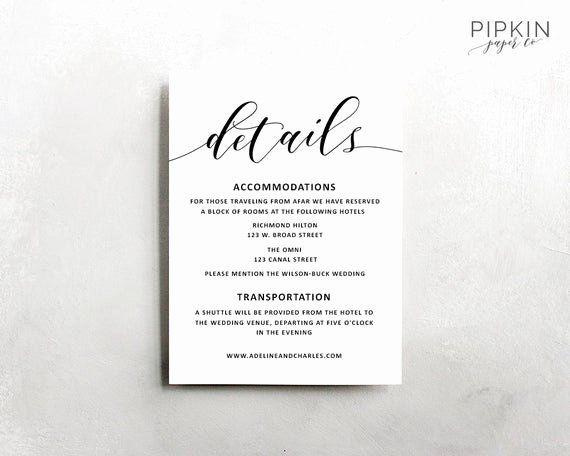 Wedding Information Card Template Best Of Wedding Details Template Wedding Information Card Rustic Rustic Wedding Details Wedding Details Card Wedding Details