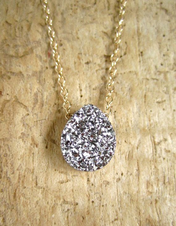 Silver Druzy Necklace Titanium Drusy 14K GF by julianneblumlo, $64.00