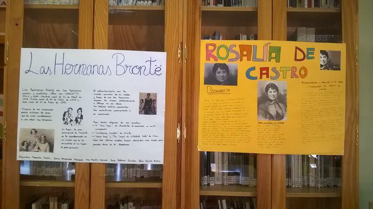 DÍA DE LA MUJER 2015. Exposición en la bilbioteca de murales realizados por los alumnos de 1º de ESO sobre mujeres escritoras.