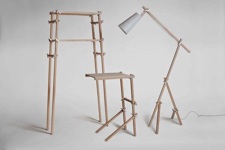 """Patyczaki"" are sets of elements that can be used for construction of furniture, appliances, installations. They offer the possibility to create an infinite number of structures thanks to their simple and universal design. Three pieces of furniture – table, bookshelf, lamp – are an example of the potential of the project."