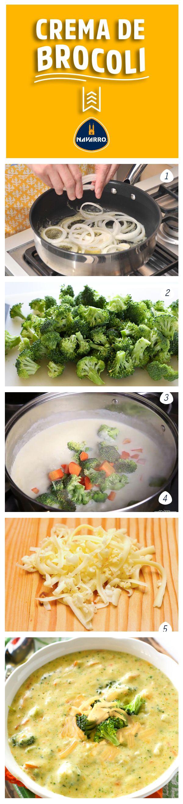 ¿Cómo hacer una crema de brócoli que te deje sin palabras? Fácil sólo necesitas: 1 cucharada de mantequilla para freir la cebolla, 1/2 cebolla mediana en aros, 1/4 taza de mantequilla derretida para darle consistencia y sabor, 1/4 taza de harina, 2 tazas de crema, 2 tazas de caldo de pollo, 3 tazas de brócoli fresco cortado en trozos pequeños, 1 taza de zanahoria en trozos pequeños, 1/4 cucharadita de nuez moscada, 2 tazas de Queso Cheddar NAVARRO rallado, sal y pimienta.