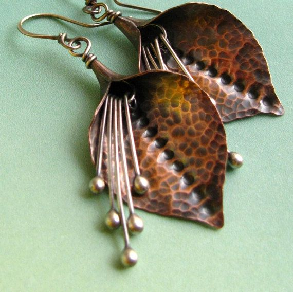 Lily Flower Earrings Copper And Sterling Silver Mixed by Mocahete