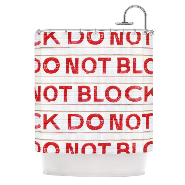"Kess InHouse Heidi Jennings ""DO NOT Block"" White Red Shower Curtain"