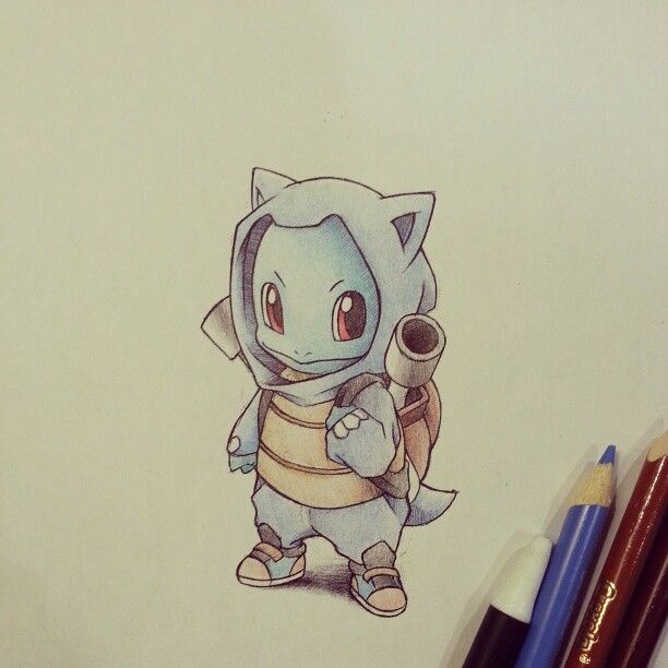Squirtle in his Blastoise hoodie and backpack set by ...