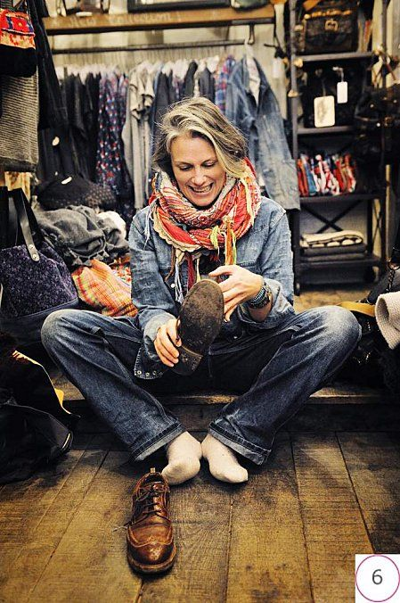 Denim. Brogues. Grey hair. Cool scarf. When Im old, I hope I can rock it like her. But this is so how Im doing my hair :D