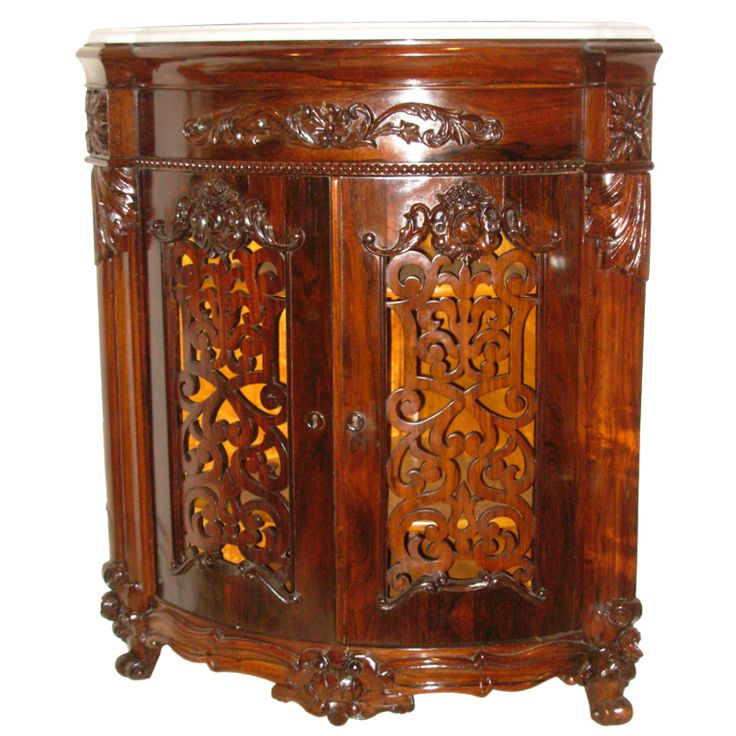 Victorian Meeks Signed Rococo Revival Rosewood Corner Cabinet