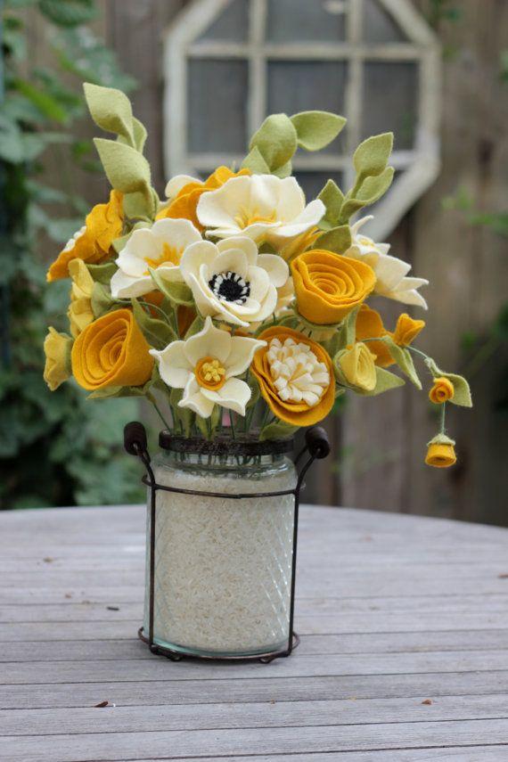 Fall Felt Centerpiece. Handmade Felt Blossoms in by TheFeltFlorist | Felt ideas | Pinterest | Felt Flowers, Felt and Handmade felt