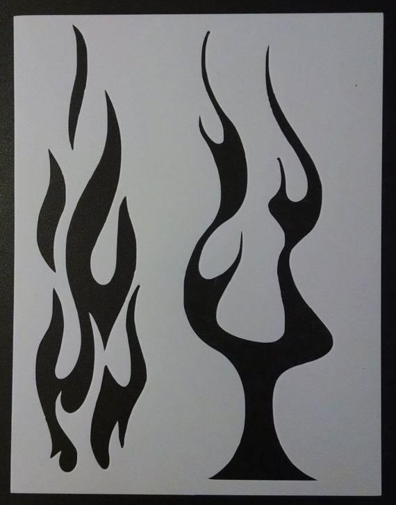 Large Flames Flame Biker Fire Pin Stripes Custom Stencil FAST