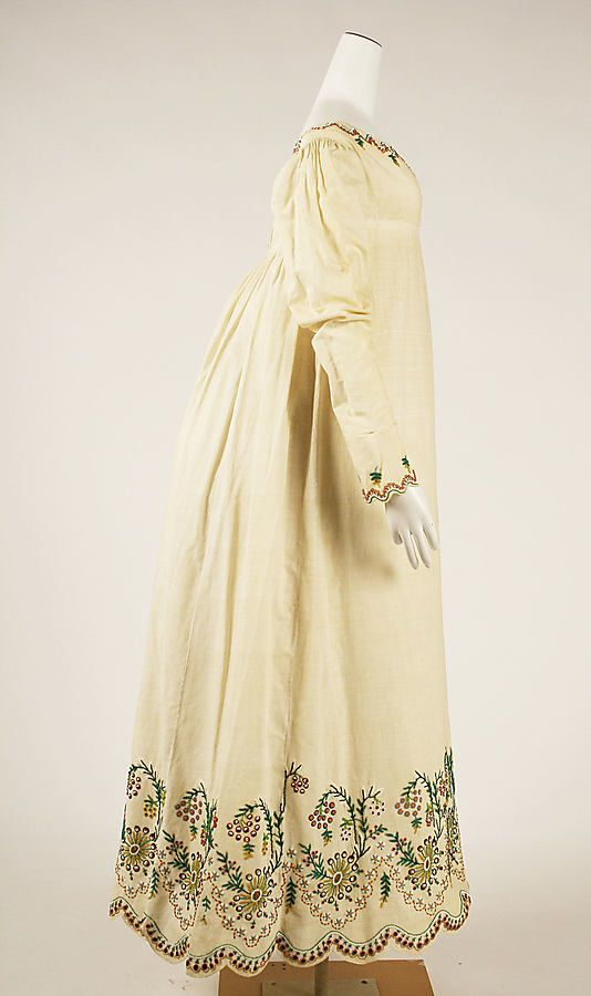 Austrian Dress, ca. 1804.  Lovely Regency cut with colored embroidered border.