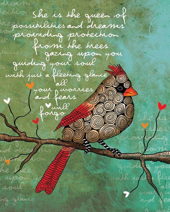 Reina de posibilidades / hembra ilustración cardenal / original ART Print firmado / 8 x 10 / nueva