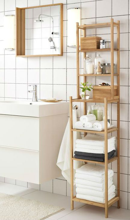 get organized and relaxed in your bathroom with the ikea rgrund shelving unit in bamboo