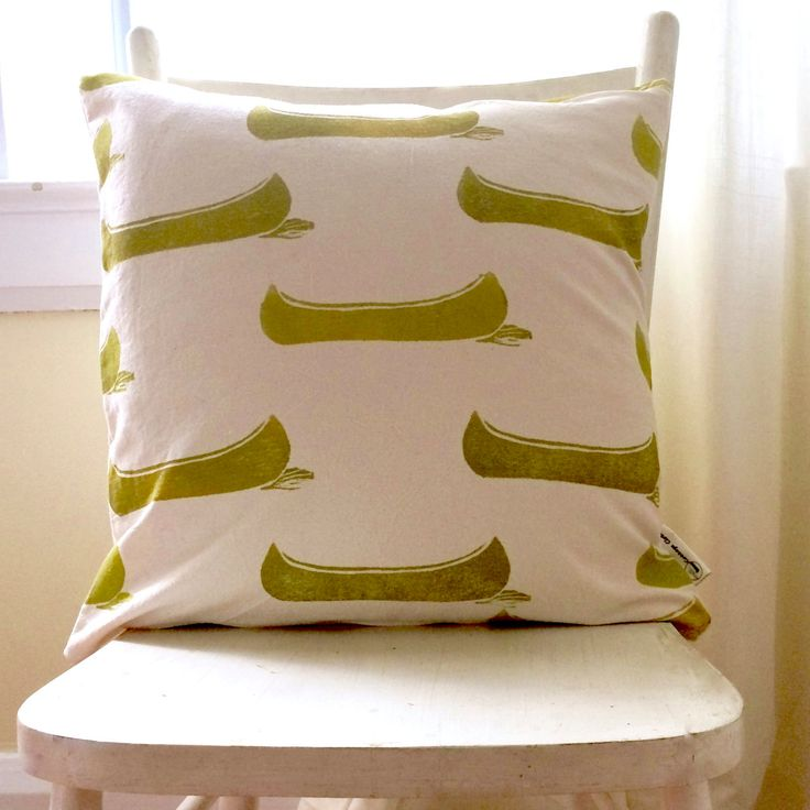 Organic canvas 18 inch square pillow cover drifting canoes in olive/yellow-green by CottageClothCo on Etsy
