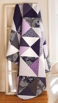 Lavender Fields: easy quilts triangle square quilt block quilt