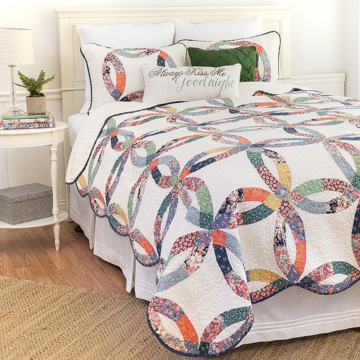 Enterprises Heritage Wedding Ring 3-piece Full/Queen Size Quilt Set