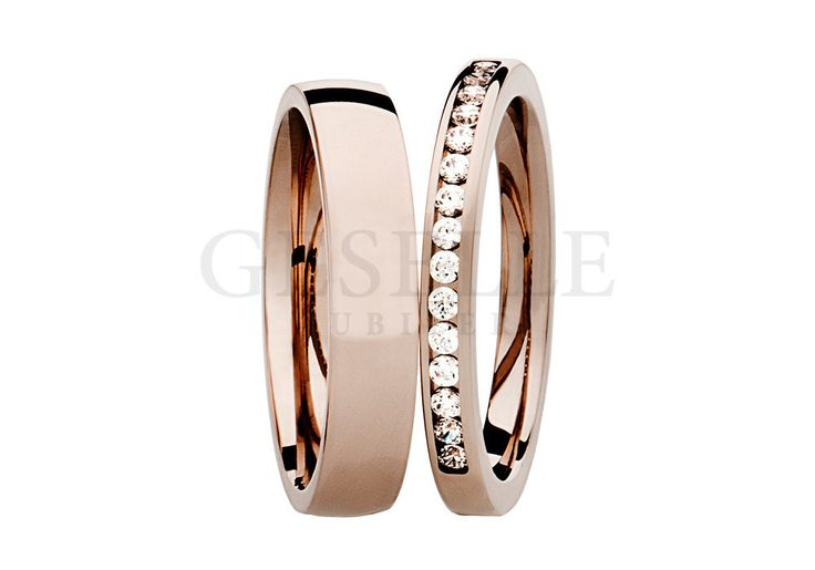 Para obrączek ślubnych z różowego złota z brylantami 0,22 ct z kolekcji Essence | OBRĄCZKI ŚLUBNE  Różowe złoto  seria SW od GESELLE Jubiler