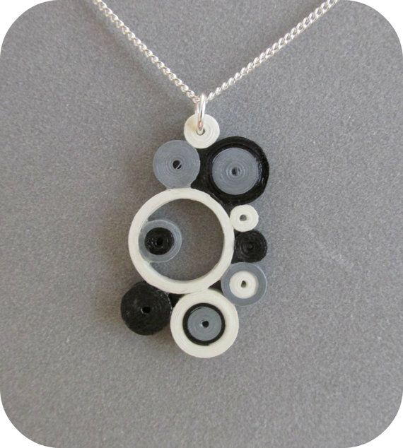 Quilled Black Silver & White Circles Pendant by DesignedByKris, $15.00