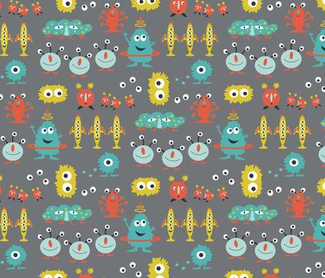 happy aliens fabric by jillbyers on Spoonflower - custom fabric