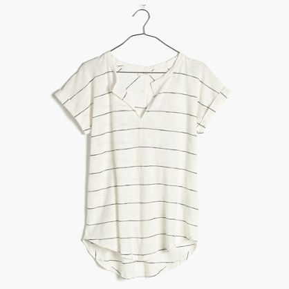 A new favorite in the making, this supersoft striped tee has a low-key split neckline and an easy curved hem. Definitely a go-to.  <ul><li>Drapey fit.</li><li>Cotton/Modal® rayon.</li><li>Machine wash.</li><li>Import.</li></ul>
