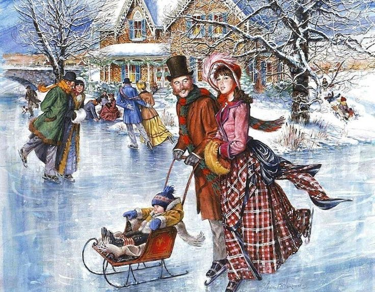 Поздравлением, старинные картинки зима