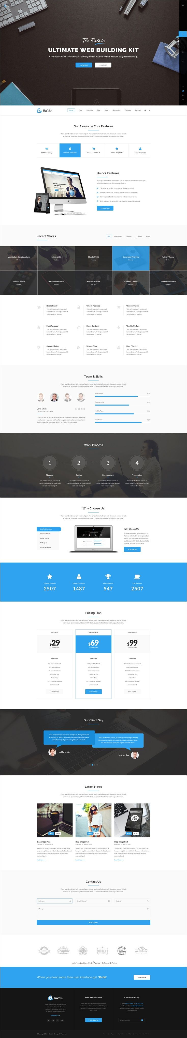 Rafale is a ultimate multipurpose #PSD template for #webdesign stunning #corporate websites with 16 unique homepage layouts, 15 moderns portfolio, 5 shop and 101+ layered PSD pages download now➩ https://themeforest.net/item/rafale-multipurpose-psd-template/18950595?ref=Datasata