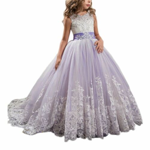 Vintage Lace Tulle Flower Girl Dresses First Communion Dress Child Party Gown