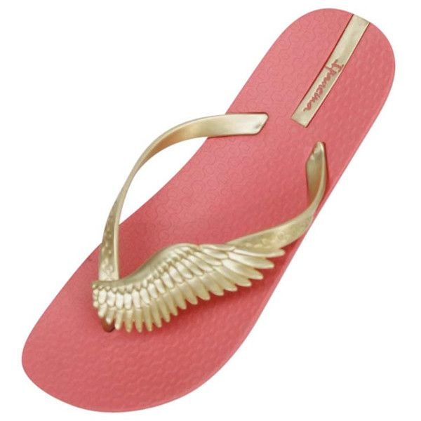 Coral & Gold Ipanema Neo Sky Wing Strap Brazilian Flip Flops ($25) ❤ liked on Polyvore featuring shoes, sandals, flip flops, coral, flip flops women, footwear, gold strappy shoes, beach flip flops, strap sandals and gold strap sandals