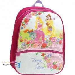 Junior batôžtek Disney princezné Ruženka a Bella má polstrovaný chrbát, jedno veľké vrecko a jedno malé vpredu. Popruhy sú polstrované a dajú sa dĺžkovo nastavovať.