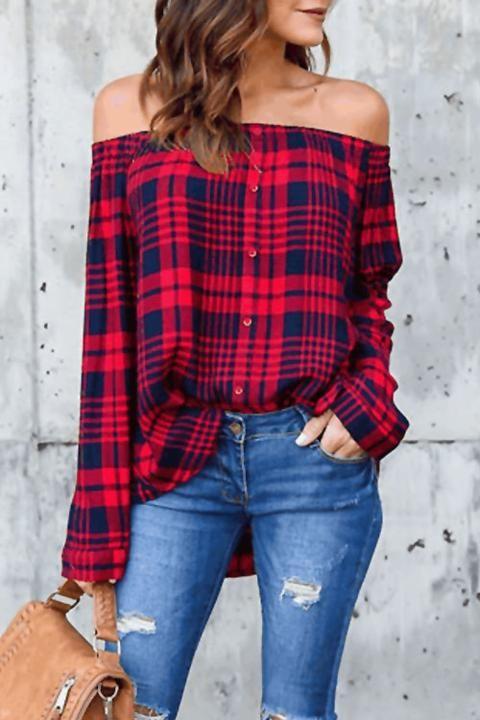 Lbduk Off The Shoulder Buttons Front Plaid Blouse shirt top sexy shirt comfortable #boho design #SALE affiliate link