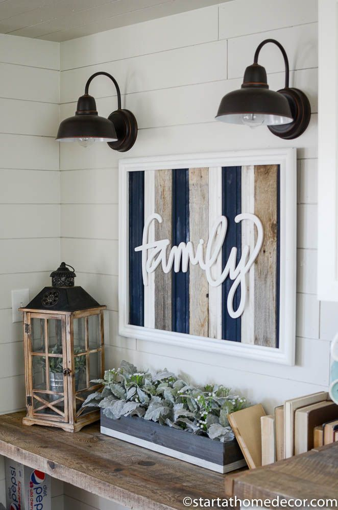 Navy Grey And White Reclaimed Wood Family Sign Is Perfect